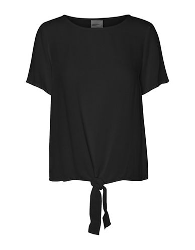 Vero Moda Fay Short Sleeve Bow Top-BLACK-X-Small 89292197_BLACK_X-Small