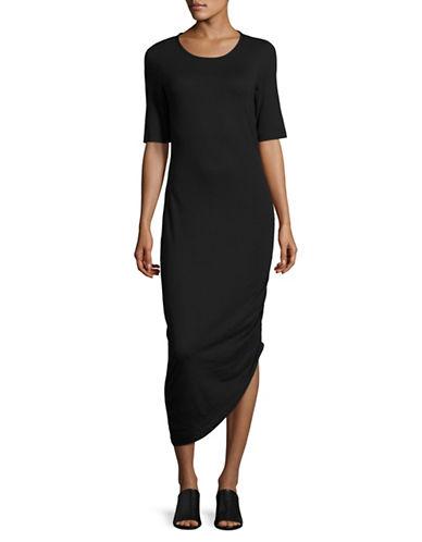 Noisy May Gathered Midi Dress-BLACK-X-Small