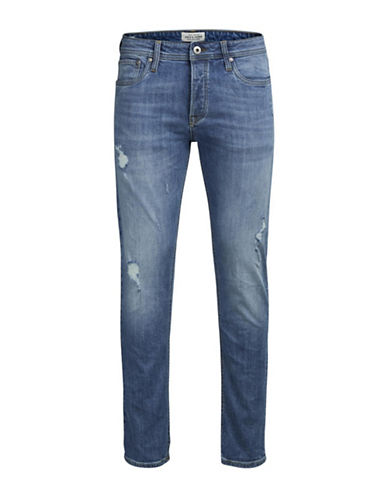 Jack & Jones Distressed Denim Jeans-BLUE-34X32