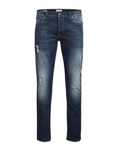 Jack & Jones Slim Fit Distressed Jeans-BLUE-32X34