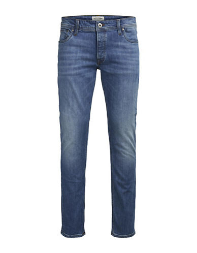Jack & Jones Faded Slim-Fit Denim Jeans-BLUE-31X32