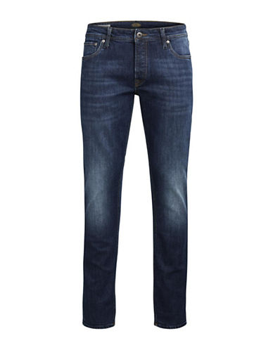 Jack & Jones Faded Slim-Fit Denim Jeans-BLUE-33X34