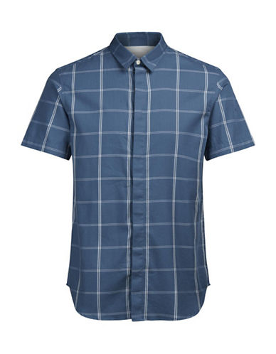 Jack & Jones Short Sleeve Plaid Shirt-BLUE-Small
