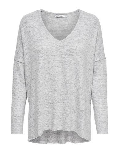 Only Knit V-Neck Pullover-LIGHT GREY-Small