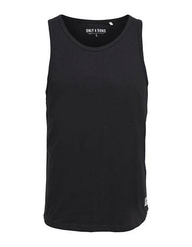 Only And Sons Heathered Round Neck Tank-BLACK-Small 89135776_BLACK_Small