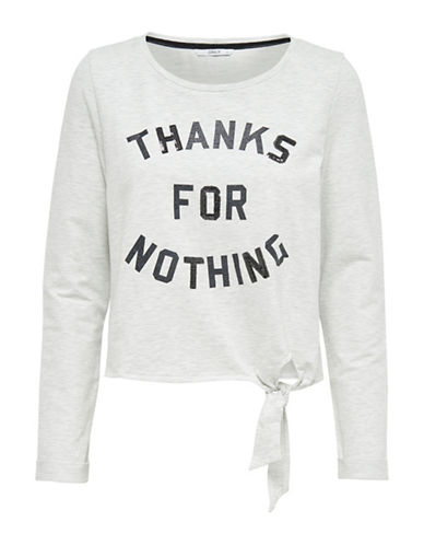 Only Thanks For Nothing Pullover-OATMEAL-Large