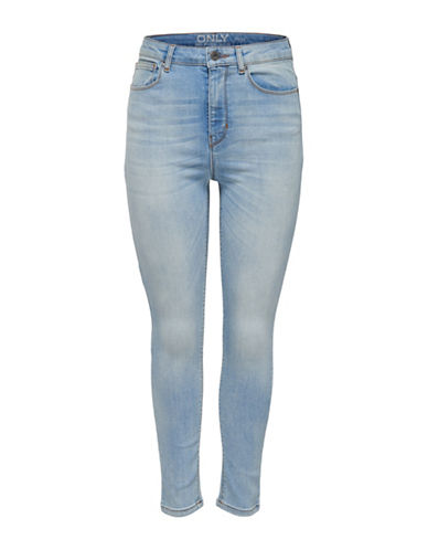 Only onlPosh Cropped High-Waist Jeans-LIGHT BLUE-29