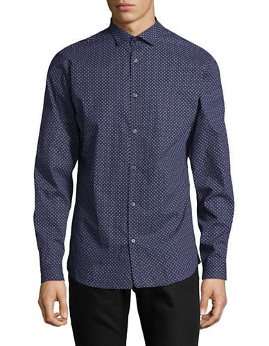Jack And Jones Premium JprBlackpool Long Sleeve Shirt-NAVY-X-Large