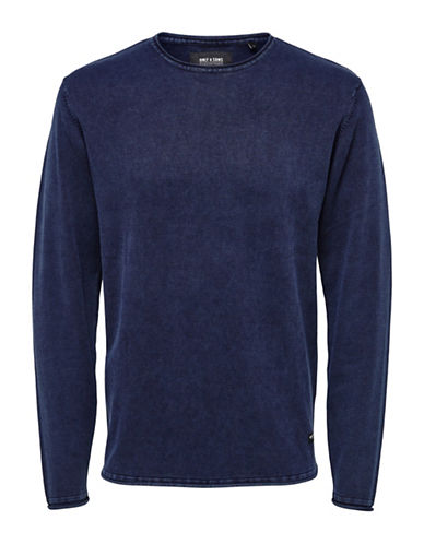 Only And Sons Garson Knit Pullover-BLUE-Medium