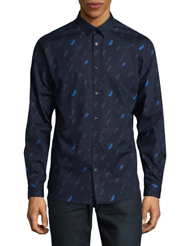 Jack And Jones Premium Paint Print Speckle Sport Shirt-DARK NAVY-Large