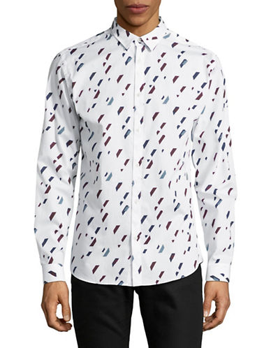 Jack And Jones Premium Paint Print Speckle Sport Shirt-WHITE-Large