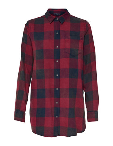 Only Loose Long-Sleeve Plaid Shirt-BLACK MULTI-40