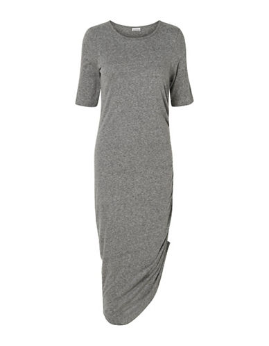Noisy May Gathered Midi Dress-DARK GREY-X-Small