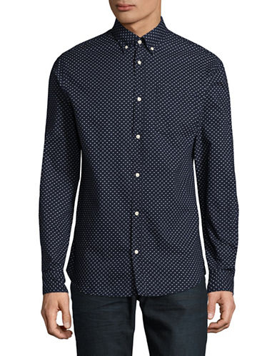Jack And Jones Premium Print Speckle Shirt-DARK NAVY-Small