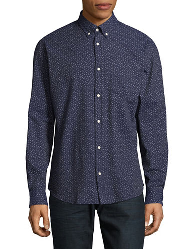 Jack And Jones Premium Print Speckle Shirt-NAVY-Large