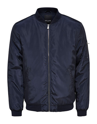 Only And Sons Camp Bomber Jacket-BLUE-Large