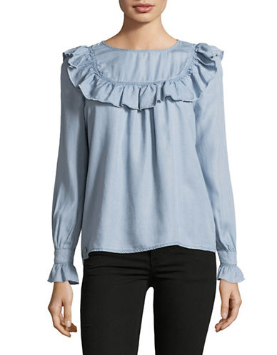 Only Frilled Denim Top-BLUE-36