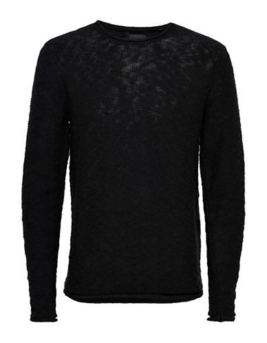 Only And Sons Slub Pullover-BLACK-X-Large 88915288_BLACK_X-Large
