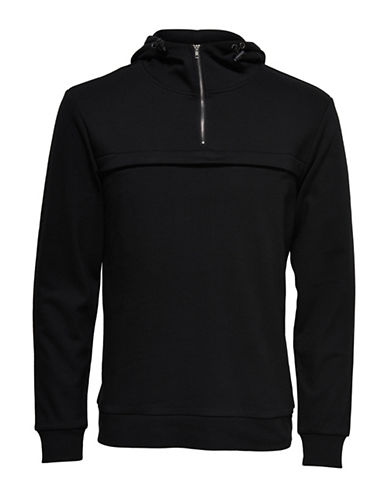 Only And Sons Anorak Pop-Over Half-Zip Hoodie-BLACK-Small 89227083_BLACK_Small