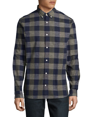 Jack And Jones Premium JprNelson Plaid Long Sleeve Shirt-GREEN-X-Large