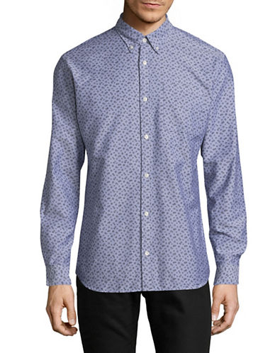 Jack And Jones Premium Clean Speckle Print Sport Shirt-BLUE-X-Large