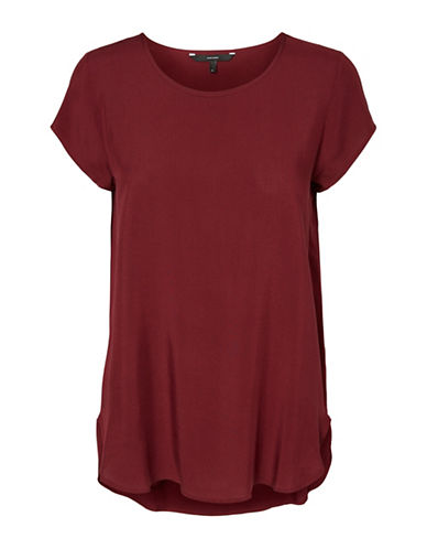 Vero Moda Round Neck Short Sleeve Blouse-ZINFANDEL-X-Small