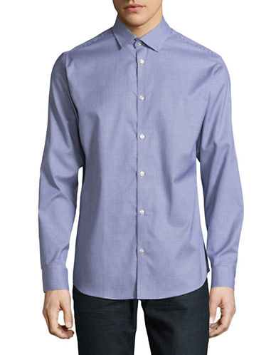Selected Homme Cotton Pincheck Sport Shirt-NAVY-X-Large