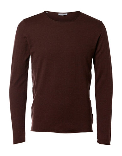 Selected Homme Crew Neck Cotton-Silk Tee-BURGUNDY-Large