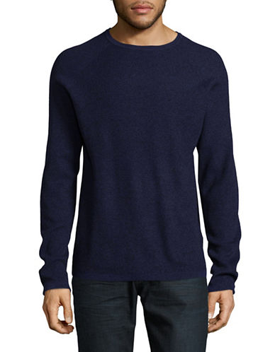 Selected Homme Marled Crew Neck Sweater-BLUE-Medium