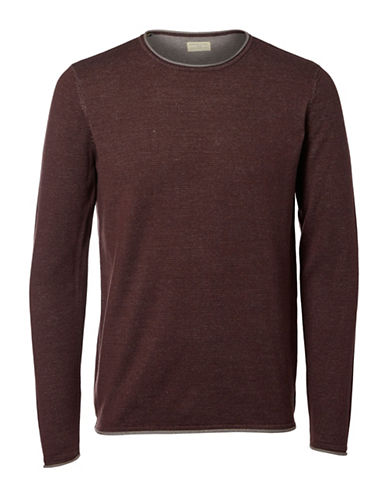 Selected Homme Cotton Sweater-BROWN-Large