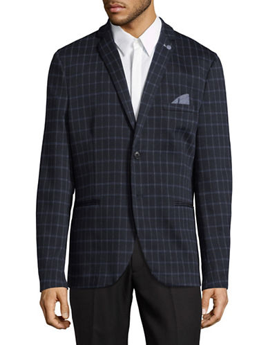 Selected Homme Check-Knit Sports Jacket-DARK BLUE-40 Regular