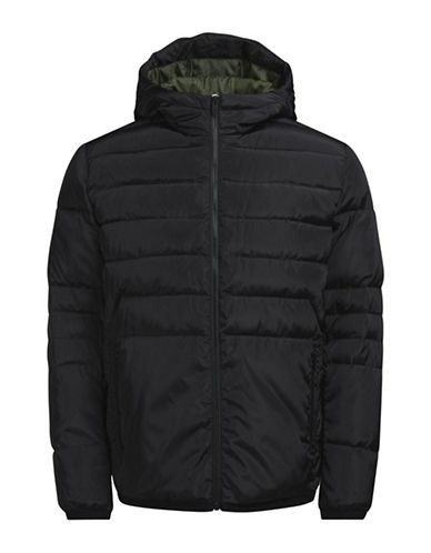 Jack & Jones Hooded Puffer Jacket-BLACK-XX-Large