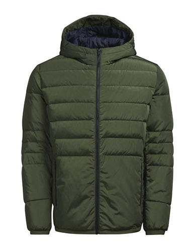 Jack & Jones Hooded Puffer Jacket-GREEN-Medium