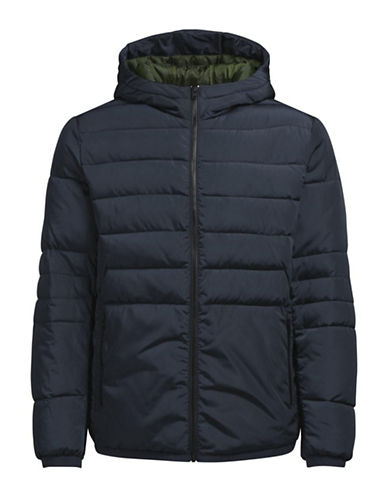 Jack & Jones Hooded Puffer Jacket-BLUE-Medium