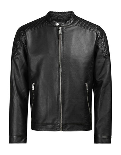 Jack & Jones Quilted Moto Jacket-BLACK-Medium
