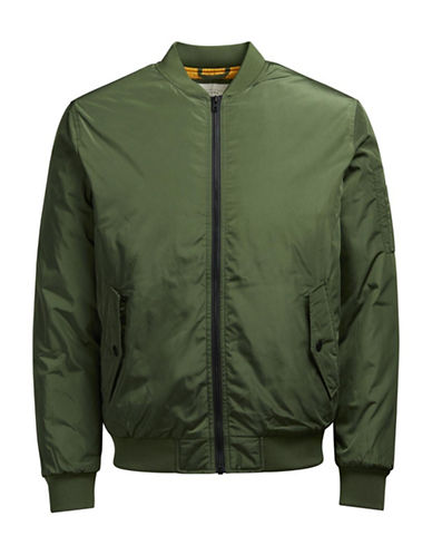 Jack & Jones Full Zip Bomber Jacket-GREEN-Medium