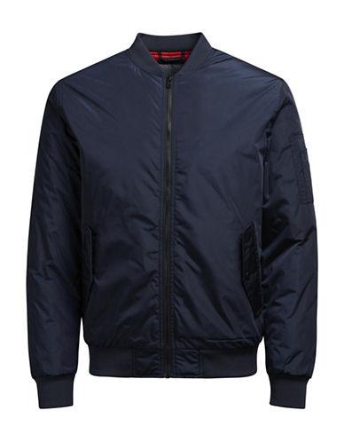 Jack & Jones Full Zip Bomber Jacket-BLUE-Large