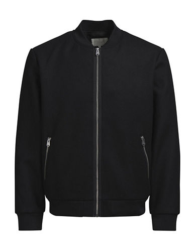 Jack & Jones Rib-Knit Bomber Jacket-BLACK-Large