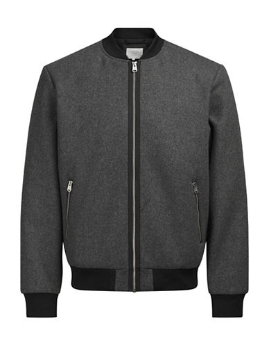 Jack & Jones Rib-Knit Bomber Jacket-GREY-XX-Large