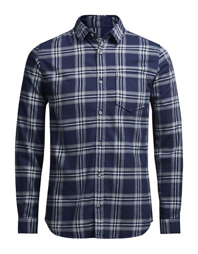 Jack & Jones Plaid Cotton Button-Down Shirt-BLUE-X-Large