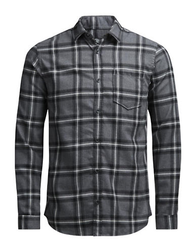 Jack & Jones Plaid Cotton Button-Down Shirt-GREY-XX-Large