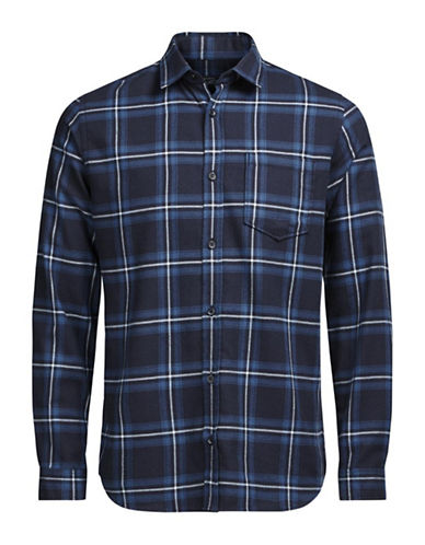 Jack & Jones Plaid Cotton Button-Down Shirt-BLUE-Large