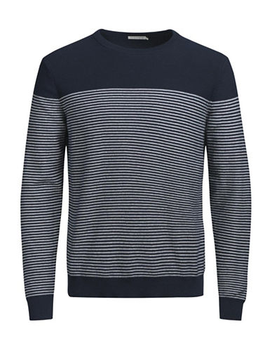 Jack & Jones Knit Crewneck Cotton Top-BLUE-Large