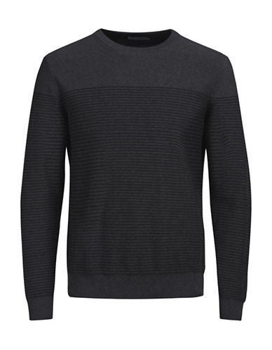 Jack & Jones Knit Crewneck Cotton Top-DARK GREY-Medium 89382482_DARK GREY_Medium