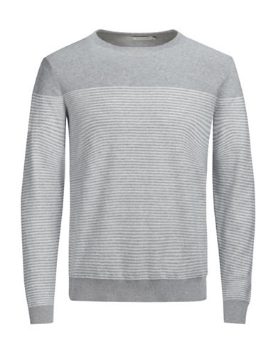 Jack & Jones Knit Crewneck Cotton Top-GREY-X-Large