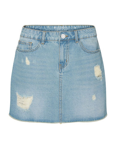 Noisy May Distressed Denim Cotton Skirt-LIGHT BLUE-Small