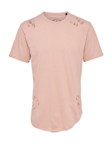 Only And Sons Destroyed Crew Neck T-Shirt-PINK-X-Large 89135709_PINK_X-Large