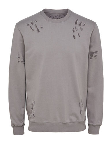Only And Sons Destroyed Crew Neck Sweatshirt-GREY-X-Large
