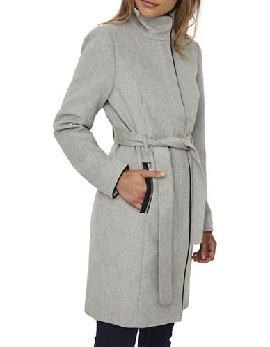 Vero Moda Faux Leather Trimmed Coat-GREY-Small