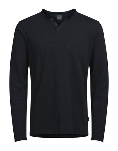 Jack & Jones Long Sleeve Cotton Top-BLUE-X-Large